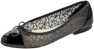 Chanel Two Tone Lace and Patent Leather CC Cap Toe Ballet Flats Size 41