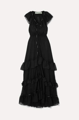 Off-White Off White Ruffled Tiered Swiss-dot Chiffon Maxi Dress - Black