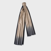 Paul Smith Men's Taupe Dip-Dye Herringbone Cashmere Scarf