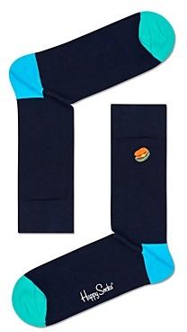 Happy Socks Color-Blocked Embroidered Hamburger Crew Socks