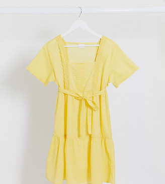 Mama Licious Mamalicious tiered smock dress in yellow