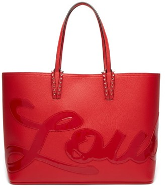 Christian Louboutin Cabata Medium Logo-applique Leather Tote Bag - Womens - Red