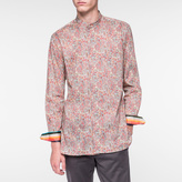 Paul Smith Men's Coral Paisley Print Band-Collar Shirt