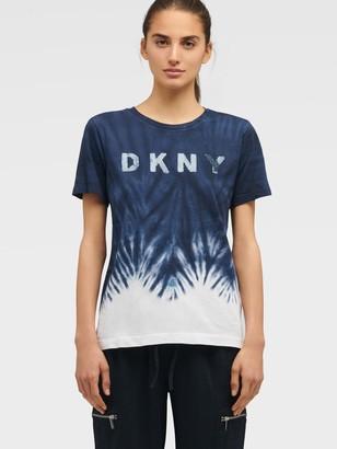 DKNY Women's Sequin Logo Tie-dye T-shirt - Ink/Moonstone Multi - Size XS
