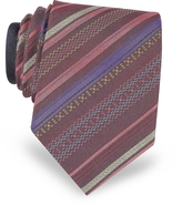 Missoni Burgundy Diagonal Stripe Woven Silk Narrow Tie