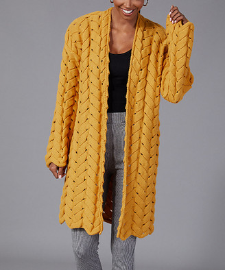 Milan Kiss Women's Cardigans MUSTARD - Mustard V-Knit Wool-Blend Open Duster - Women