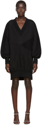 Off-White Black Intarsia Side Zip Sweatshirt Dress