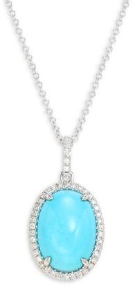 Effy 14K White Gold, Turquoise & Diamond Pendant Necklace