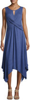 Neiman Marcus Crisscross Keyhole Linen-Blend Dress