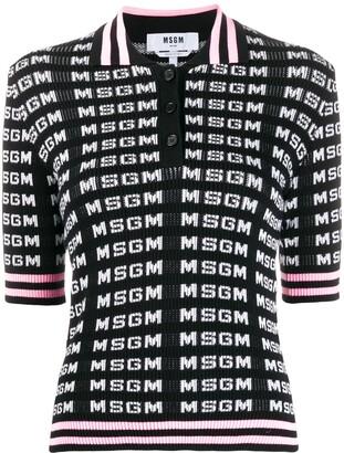MSGM Logo Intarsia Polo Shirt