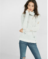 Express distressed knit cowl neck tunic sweater
