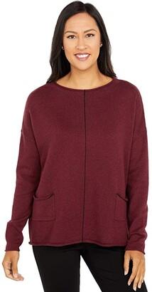 Elliott Lauren Cotton Cashmere Sweater with Center Contrast Stripe Detail (Beetroot) Women's Sweater