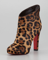 Christian Louboutin KST Leopard-Print Calf Hair Red Sole Bootie