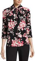 Liz Claiborne 3/4 Sleeve Twist Knot-Neck Floral T-Shirt-Petites
