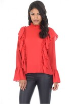 AX Paris Red Frill Long Sleeved Top
