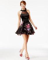 Crystal Doll Juniors' Embellished Floral-Print Halter Dress