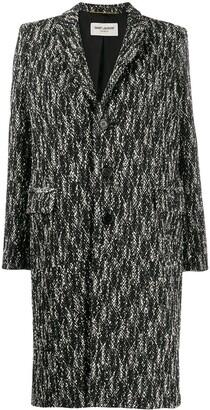 Saint Laurent Chevron Pattern Single-Breasted Coat