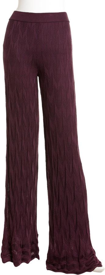 M Missoni Zigzag Knit Pants, Eggplant