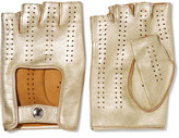 Causse Gantier Perforated Metallic Leather Fingerless Gloves