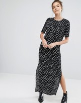 Glamorous Plisse T-Shirt Dress in Polka Dot
