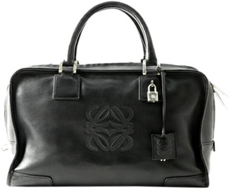 Loewe Black Leather Amazona 35 Boston Bag