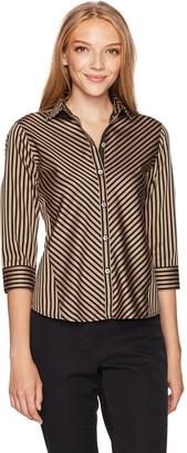 Foxcroft Women's Petite 3/4 Sleeve Fallon Satin Stripe Non Iron Shirt