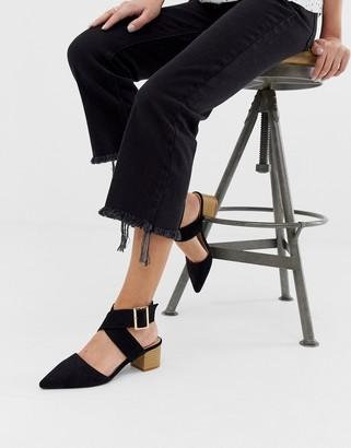 Raid RAID String black ankle strap mid heeled shoes