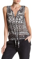 Lucky Brand Paisley Tie Front Tank
