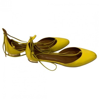 Aquazzura Christy Yellow Patent leather Ballet flats