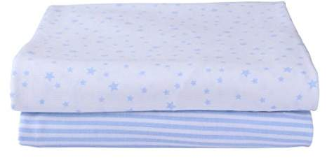 Clair De Lune Stars & Stripes 2 Pack Fitted Moses Basket Sheets - Blue