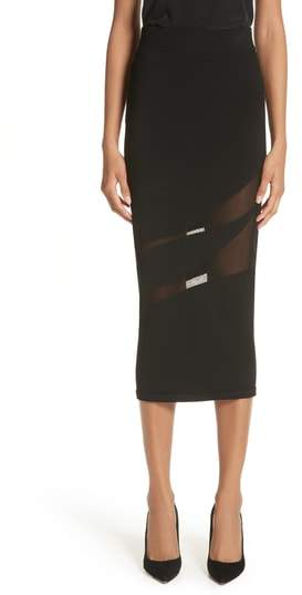 Cushnie et Ochs Sheer Inset Pencil Skirt