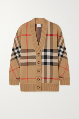 Burberry Checked Jacquard-knit Cardigan - Beige