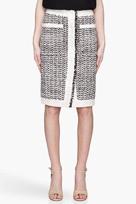 Altuzarra Ivory and black silk tweed Cheetah Skirt