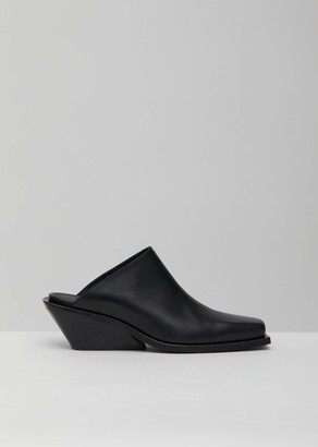 Ann Demeulemeester Leather Square Toe Wedge Mules