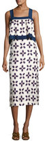 Tory Burch Avila Sleeveless Geometric-Print Popover Dress