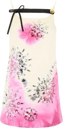 Prada Tie-dye Mini Dress With Crystals