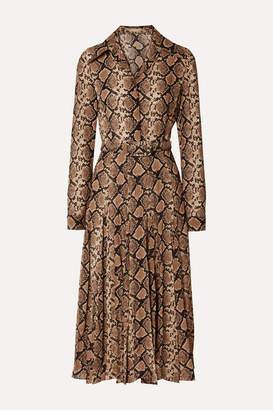 Michael Kors Belted Snake-print Silk-crepe Midi Dress - Snake print
