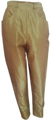 Saint Laurent Green Silk Trousers
