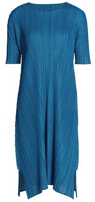 Pleats Please Issey Miyake Mellow Pleats Short-Sleeve Midi Dress
