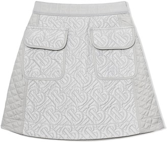 BURBERRY KIDS quilted A-line skirt
