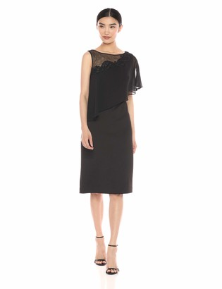 SL Fashions Women's Short Sleeve Sheer Yoke Tier Dresss
