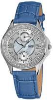 Burgi Women's BU44BU Round Diamond Classic Stainless Steel GMT Date Watch