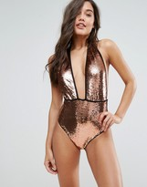 PrettyLittleThing Bronze Sequin Swimsuit