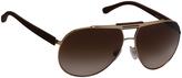 Dolce & Gabbana Gold & Brown Dual-Bar Aviator Sunglasses