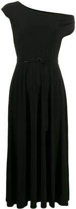Norma Kamali One Shoulder Belted Waist Dress