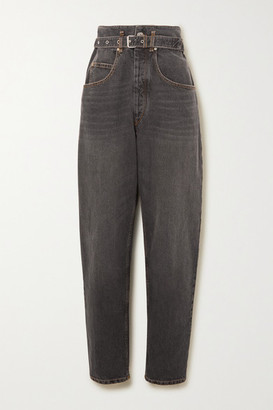 Etoile Isabel Marant Gloria Belted High-rise Tapered Jeans - Black