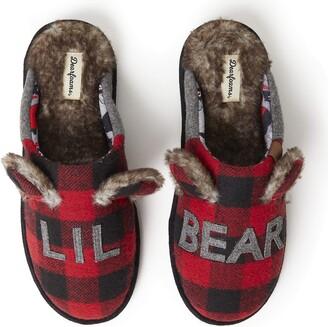 Dearfoams Men's Adult Lil Bear Buffalo Scuff Slipper