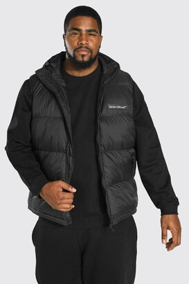 boohoo Mens Black Big & Tall MAN Branded Padded Gilet, Black