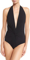 Karla Colletto Plunging Halter One-Piece Swimsuit