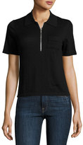 Frame Polo Zip Sweater, Noir